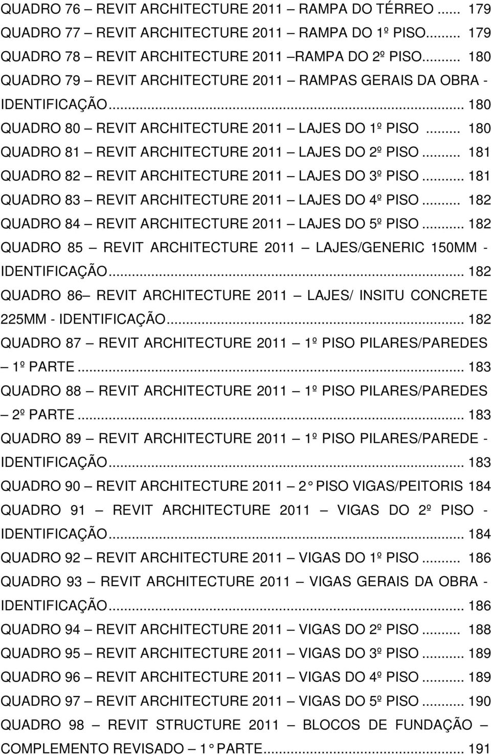 .. 181 QUADRO 82 REVIT ARCHITECTURE 2011 LAJES DO 3º PISO... 181 QUADRO 83 REVIT ARCHITECTURE 2011 LAJES DO 4º PISO... 182 QUADRO 84 REVIT ARCHITECTURE 2011 LAJES DO 5º PISO.