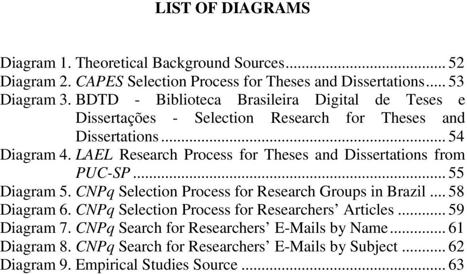 LAEL Research Process for Theses and Dissertations from PUC-SP... 55 Diagram 5. CNPq Selection Process for Research Groups in Brazil... 58 Diagram 6.