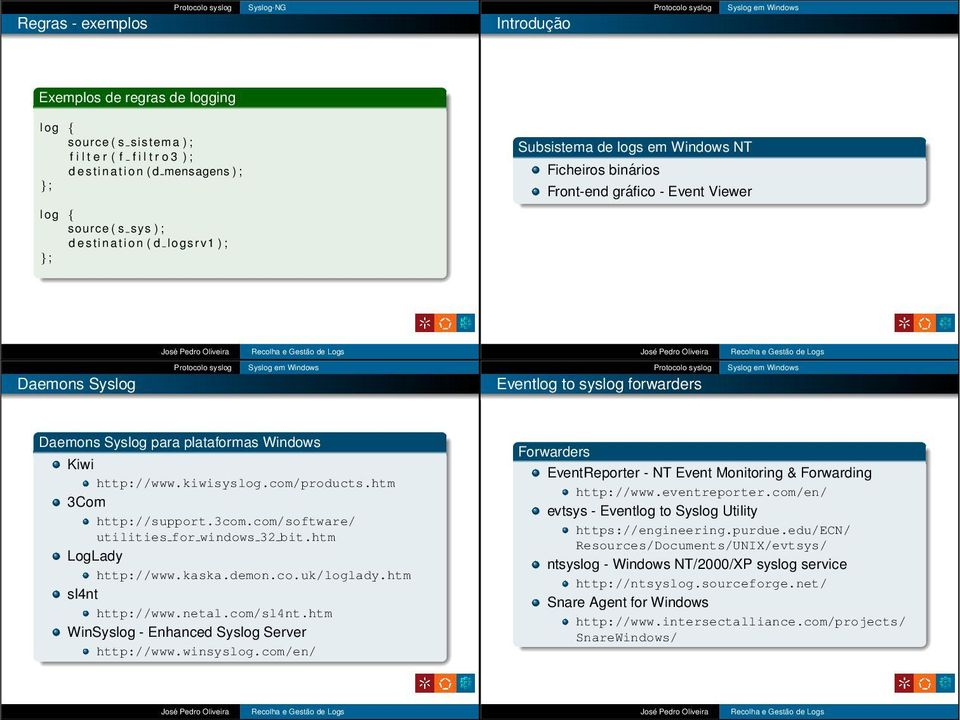 Kiwi http://www.kiwisyslog.com/products.htm 3Com http://support.3com.com/software/ utilities for windows 32 bit.htm LogLady http://www.kaska.demon.co.uk/loglady.htm sl4nt http://www.netal.com/sl4nt.