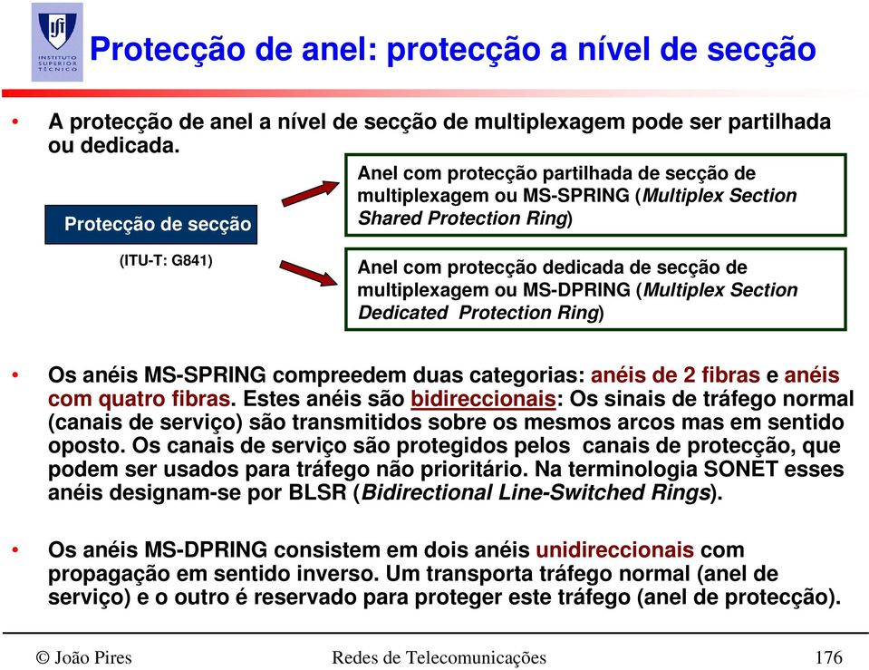 multiplexagem ou MS-DPRING (Multiplex Section Dedicated Protection Ring) Os anéis MS-SPRING compreedem duas categorias: anéis de 2 fibras e anéis com quatro fibras.