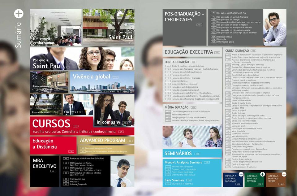 Program Por que os MBAs Executivos Saint Paul MBA Executivo em Crédito Saint Paul Moody s Analytics MBA Executivo em Finanças Saint Paul New York Insitute of Finance MBA Executivo em Liderança e