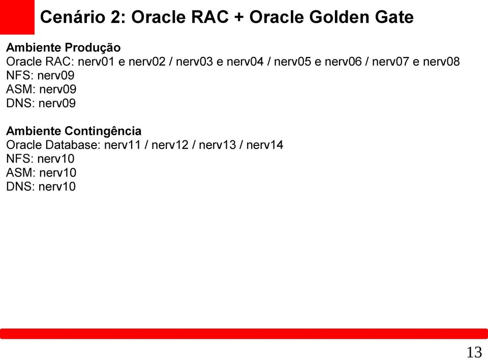 NFS: nerv09 ASM: nerv09 DNS: nerv09 Ambiente Contingência Oracle