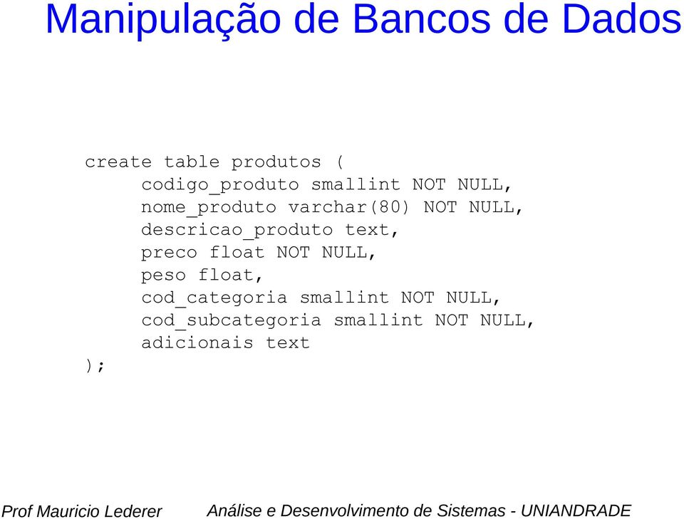 preco float NOT NULL, peso float, cod_categoria smallint
