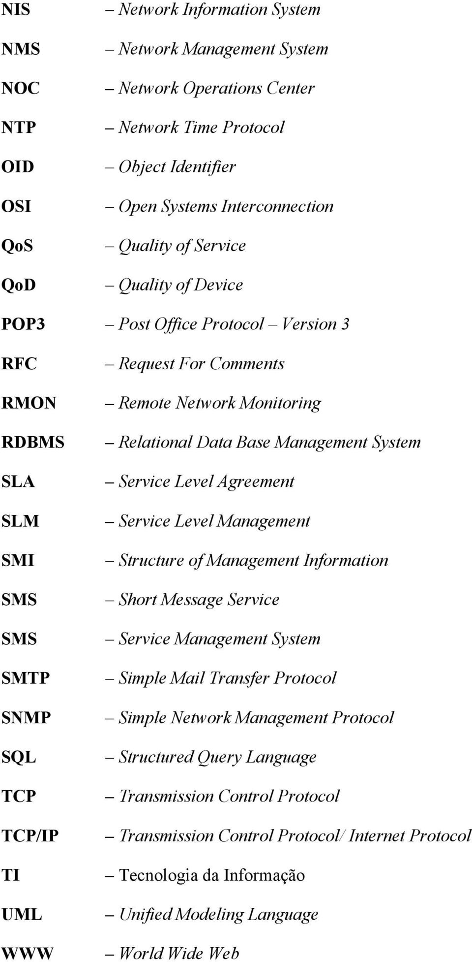 Data Base Management System Service Level Agreement Service Level Management Structure of Management Information Short Message Service Service Management System Simple Mail Transfer Protocol