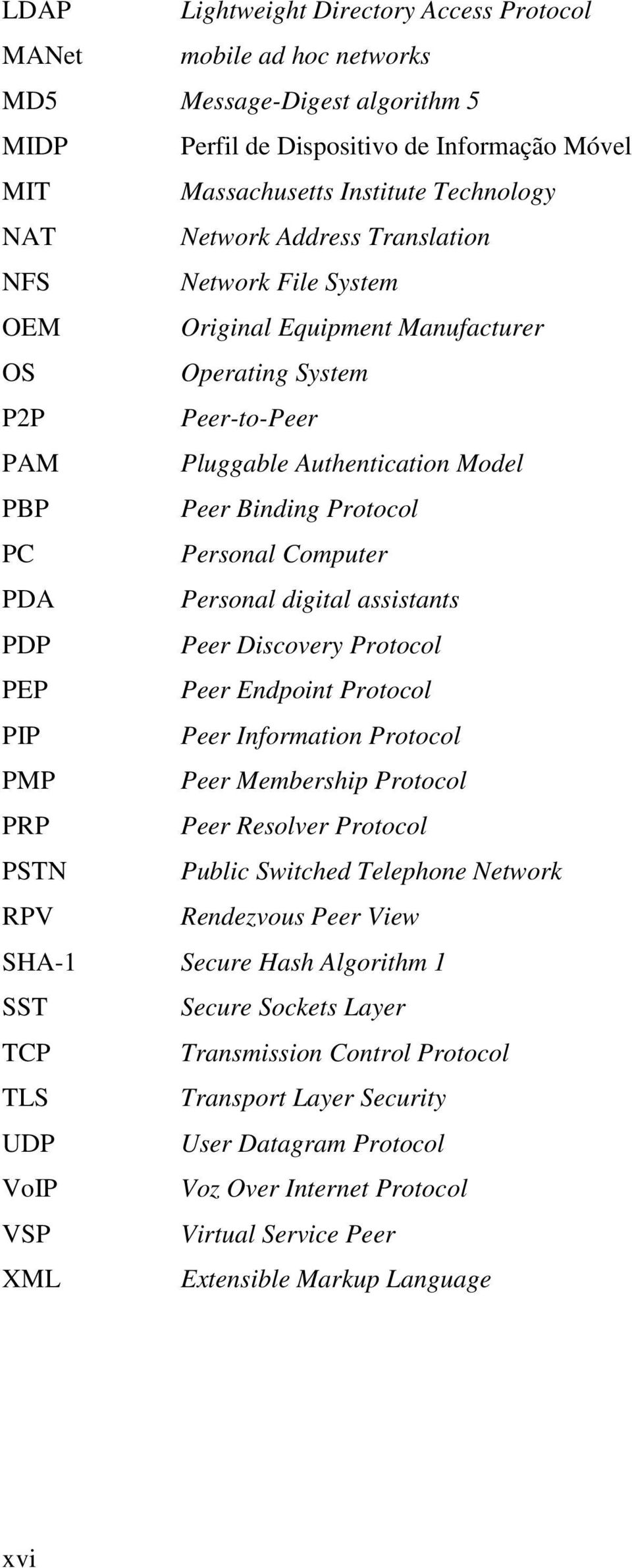 Computer PDA Personal digital assistants PDP Peer Discovery Protocol PEP Peer Endpoint Protocol PIP Peer Information Protocol PMP Peer Membership Protocol PRP Peer Resolver Protocol PSTN Public