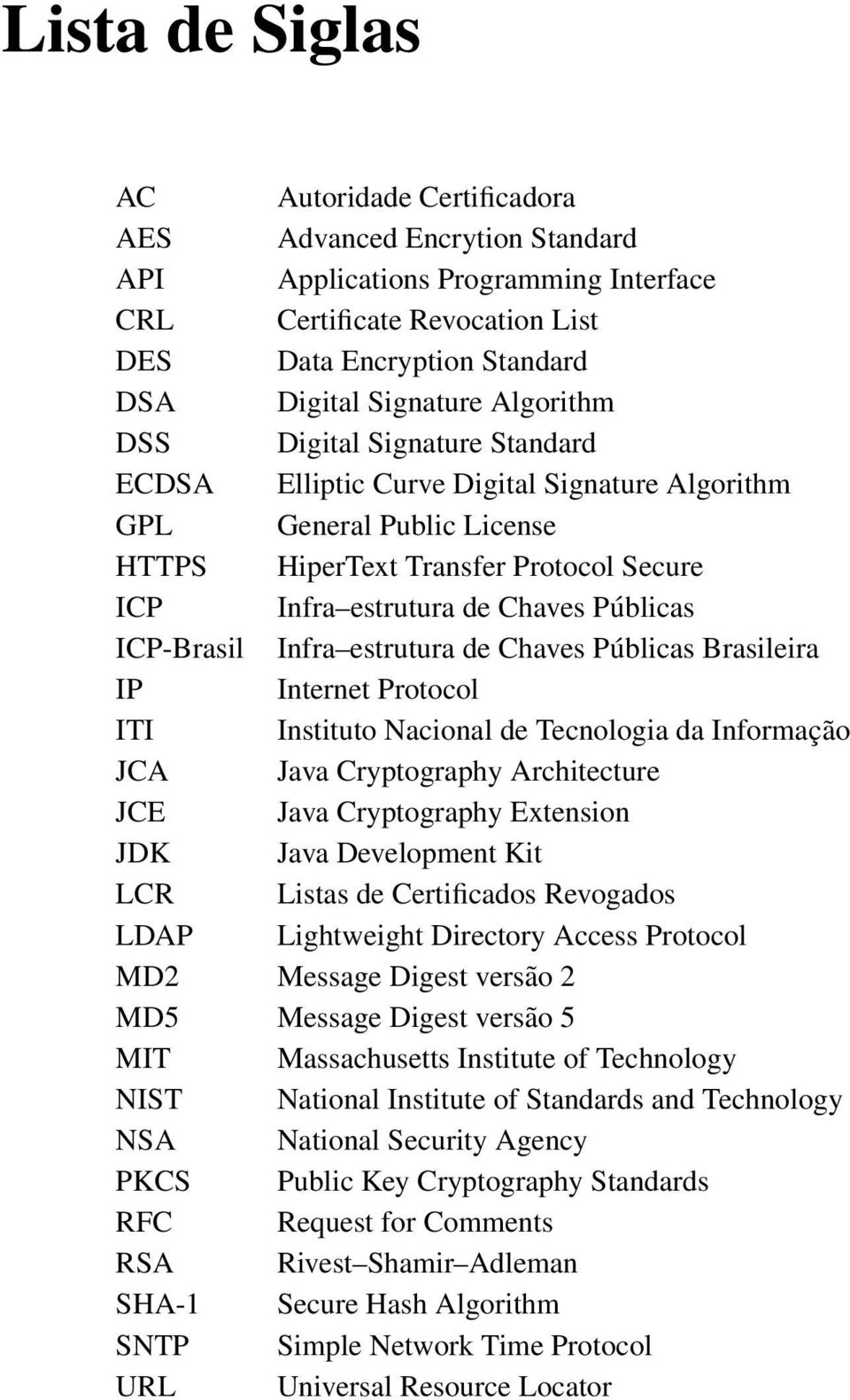 ICP-Brasil Infra estrutura de Chaves Públicas Brasileira IP Internet Protocol ITI Instituto Nacional de Tecnologia da Informação JCA Java Cryptography Architecture JCE Java Cryptography Extension JDK