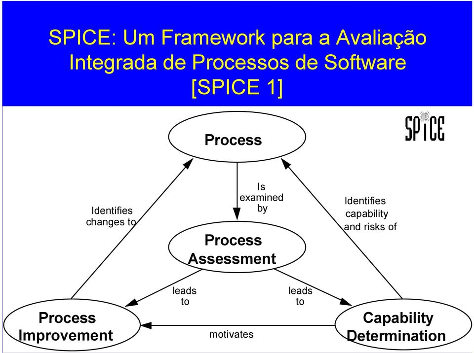 Process Assessment Identifies capability and risks of Process