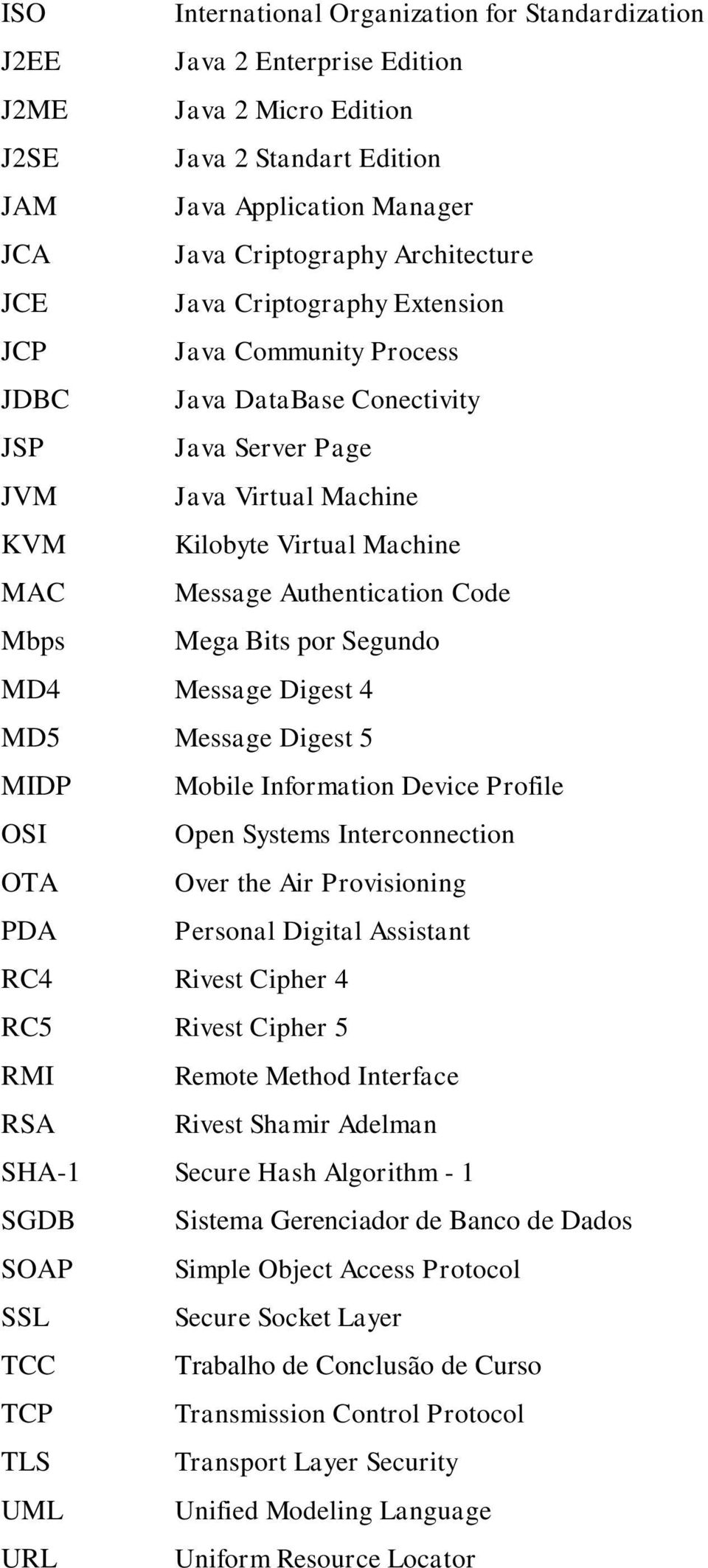 Authentication Code Mbps Mega Bits por Segundo MD4 Message Digest 4 MD5 Message Digest 5 MIDP Mobile Information Device Profile OSI Open Systems Interconnection OTA Over the Air Provisioning PDA