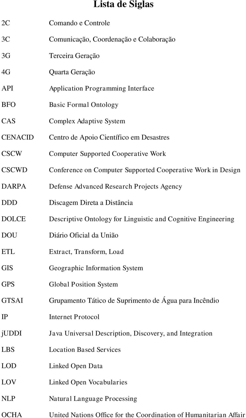 Computer Supported Cooperative Work in Design Defense Advanced Research Projects Agency Discagem Direta a Distância Descriptive Ontology for Linguistic and Cognitive Engineering Diário Oficial da
