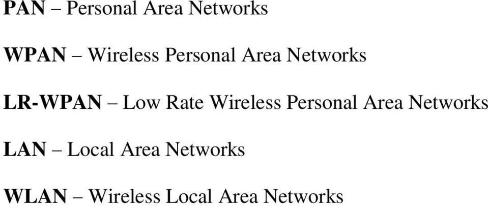 Wireless Personal Area Networks LAN Local