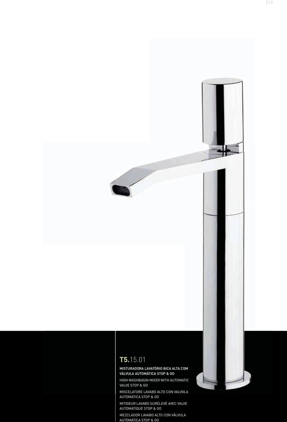 WASHBASIN MIXER WITH AUTOMATIC VALVE STOP & GO MISCELATORE LAVABO ALTO CON