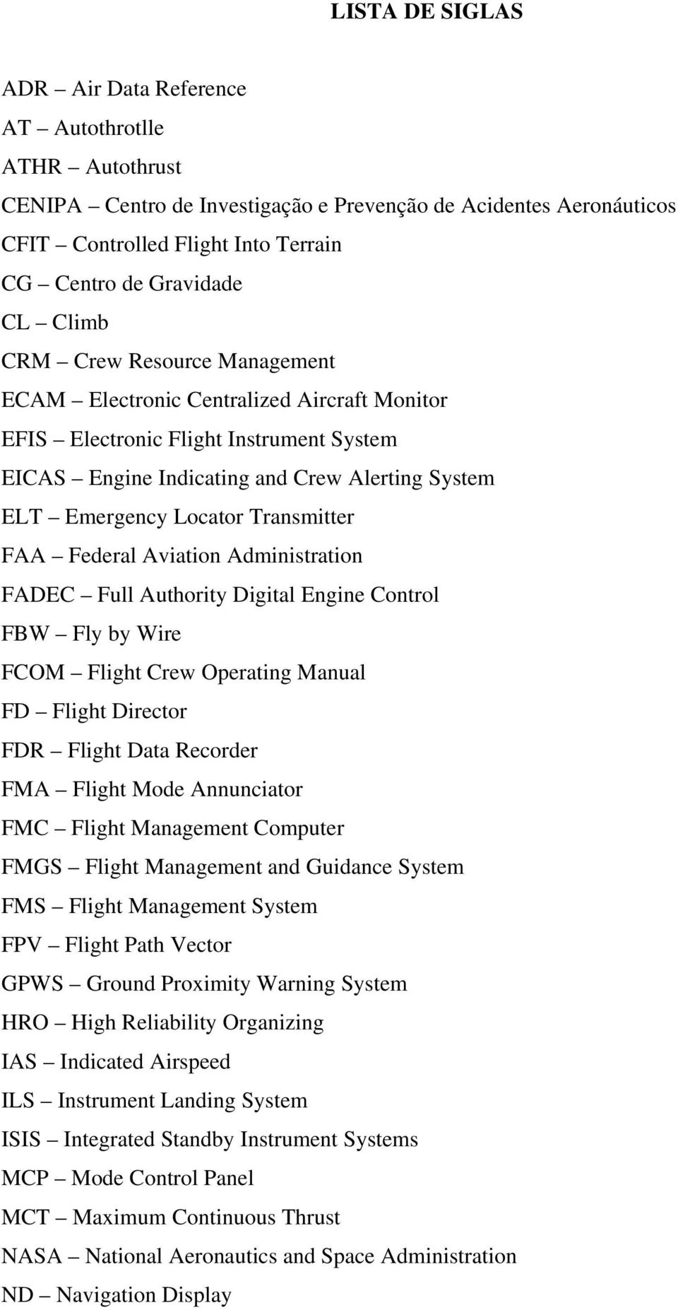 Transmitter FAA Federal Aviation Administration FADEC Full Authority Digital Engine Control FBW Fly by Wire FCOM Flight Crew Operating Manual FD Flight Director FDR Flight Data Recorder FMA Flight