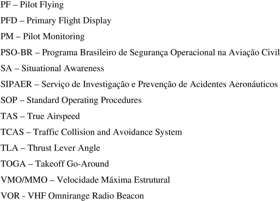 Aeronáuticos SOP Standard Operating Procedures TAS True Airspeed TCAS Traffic Collision and Avoidance System