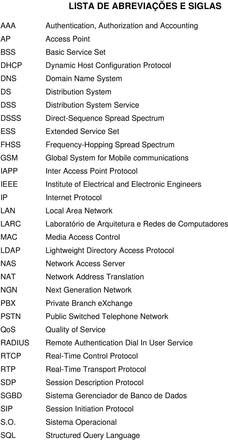 Spread Spectrum Extended Service Set Frequency-Hopping Spread Spectrum Global System for Mobile communications Inter Access Point Protocol Institute of Electrical and Electronic Engineers Internet