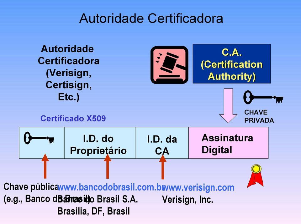C.A. (Certification Authority) Assinatura Digital CHAVE PRIVADA Chave pública www.