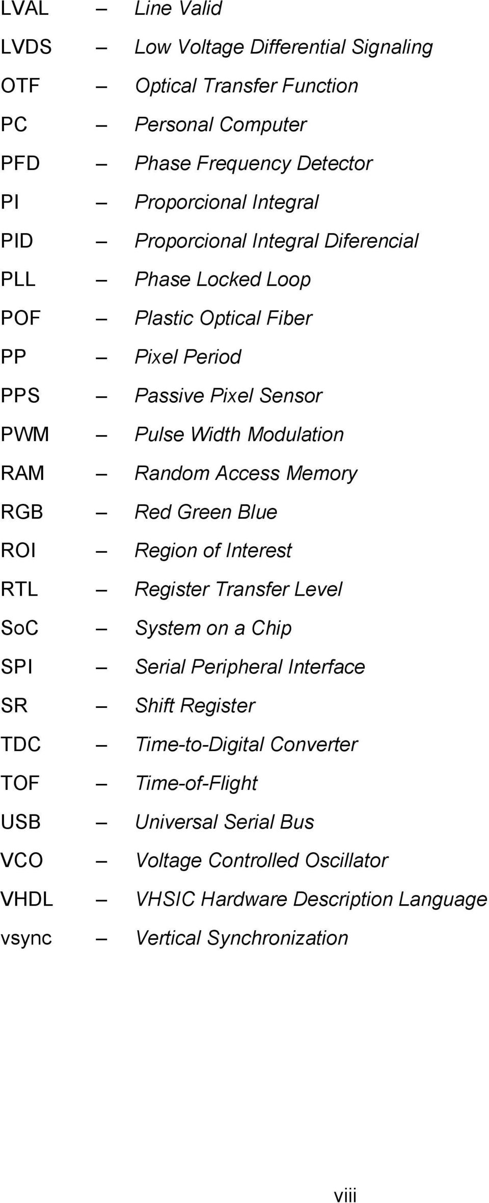 Access Memory RGB Red Green Blue ROI Region of Interest RTL Register Transfer Level SoC System on a Chip SPI Serial Peripheral Interface SR Shift Register TDC