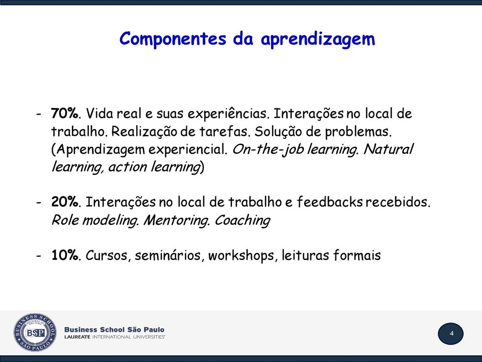 (Aprendizagem experiencial. On-the-job learning. Natural learning, action learning) - 20%.