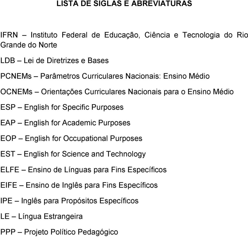 Purposes EAP English for Academic Purposes EOP English for Occupational Purposes EST English for Science and Technology ELFE Ensino de Línguas