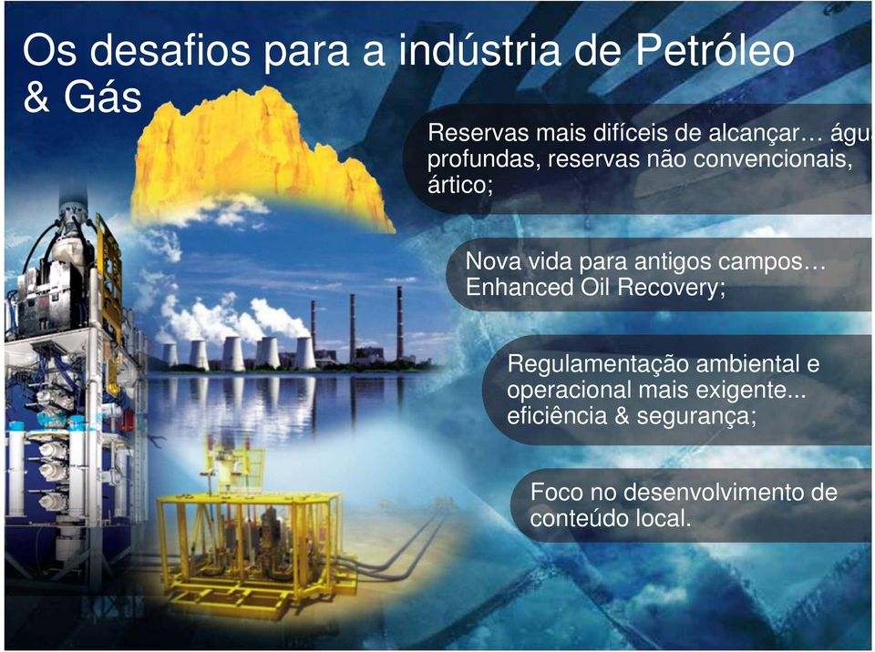 Enhanced Oil Recovery; Regulamentação ambiental e operacional mais exigente.