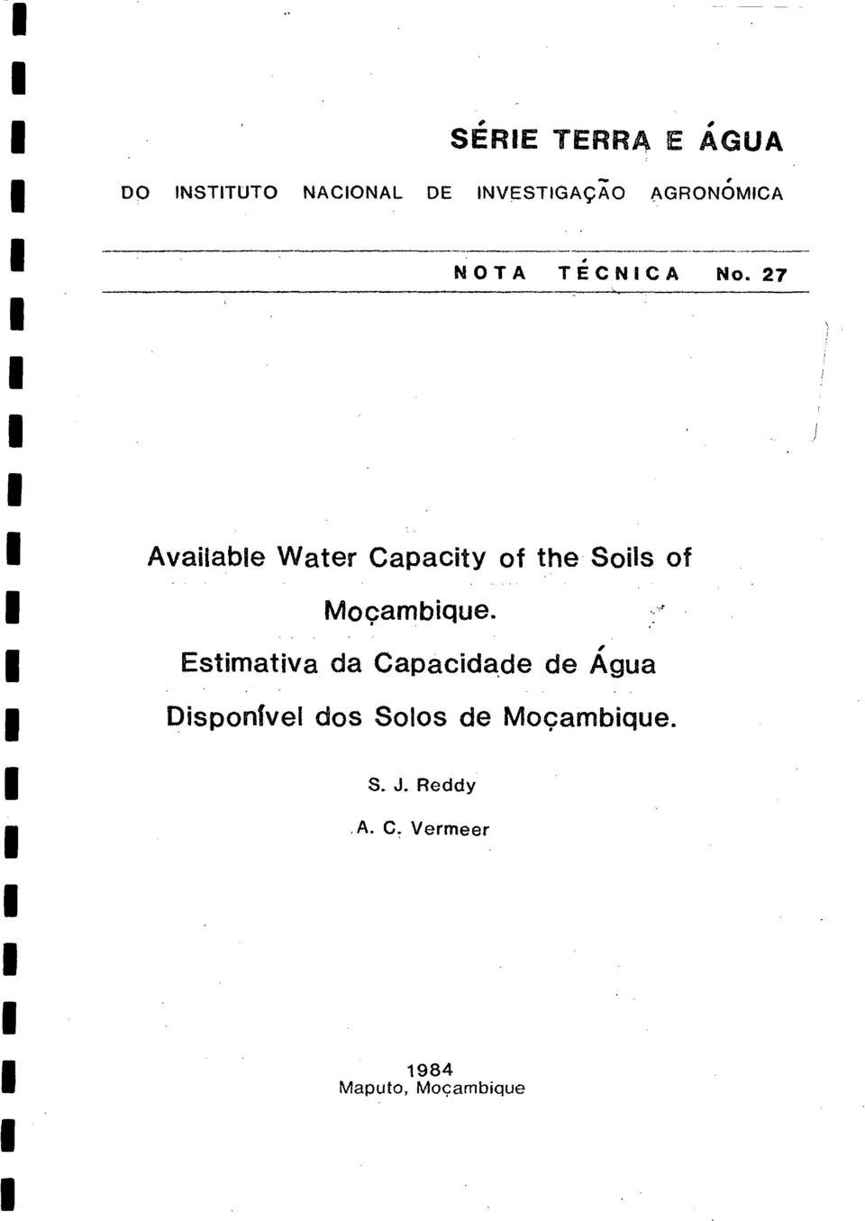 27 Available Water Capacity of the-soils of Mocambique.