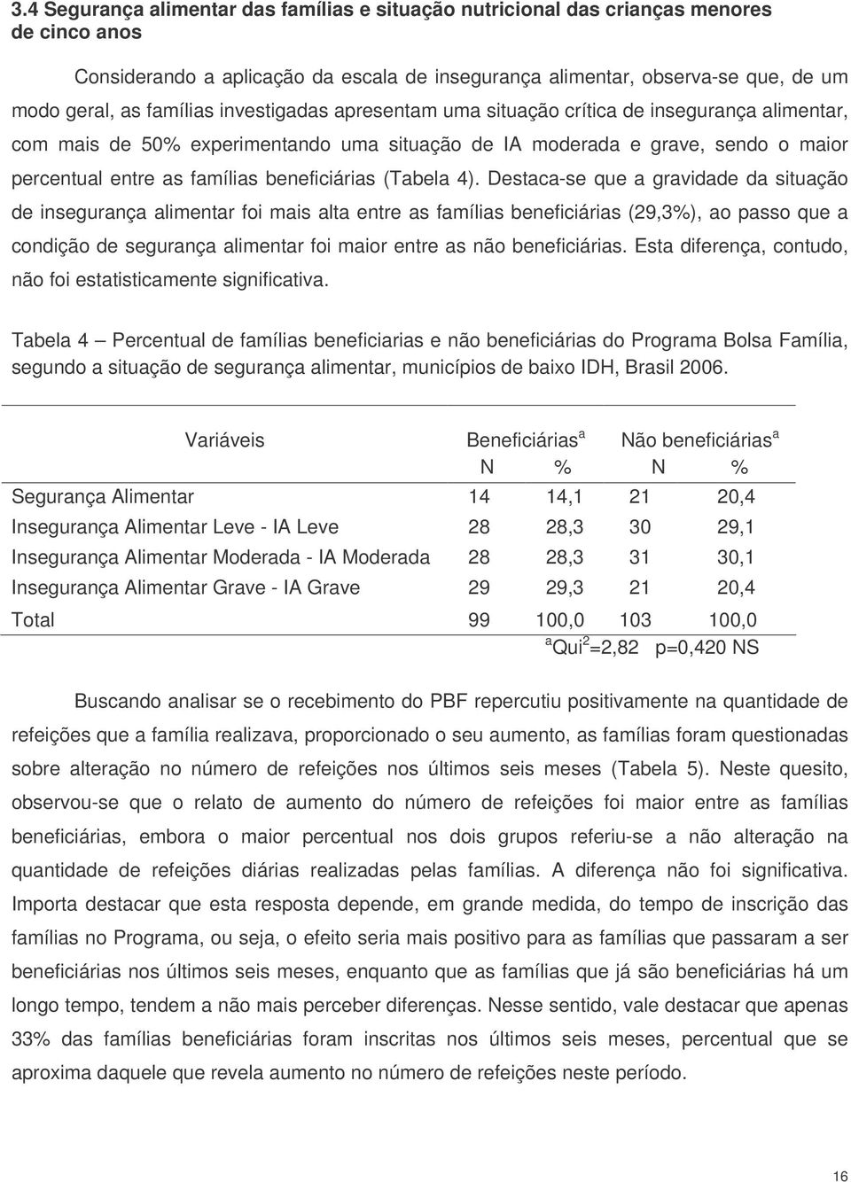 beneficiárias (Tabela 4).