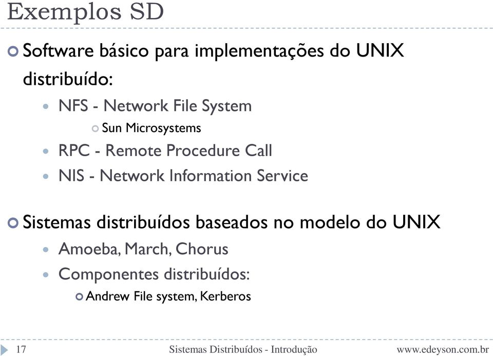 Network Information Service Sistemas distribuídos baseados no modelo do
