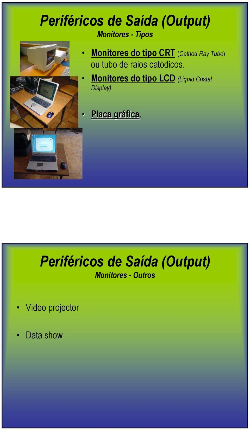 Monitores do tipo LCD (Liquid Cristal Display) Placa gráfica.