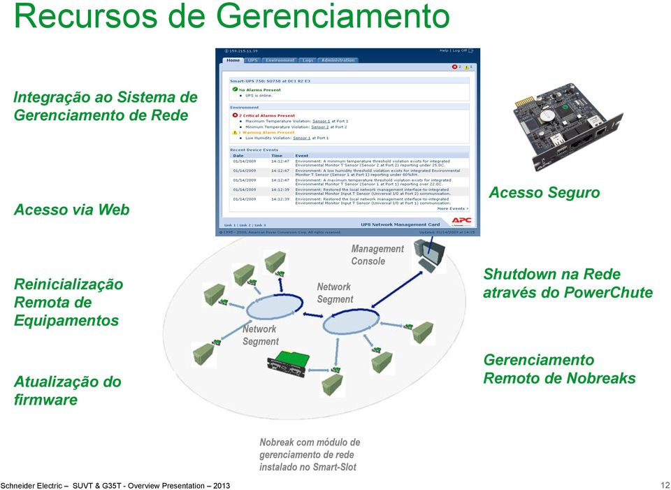 Segment Network Segment Management Console Shutdown na Rede através do PowerChute