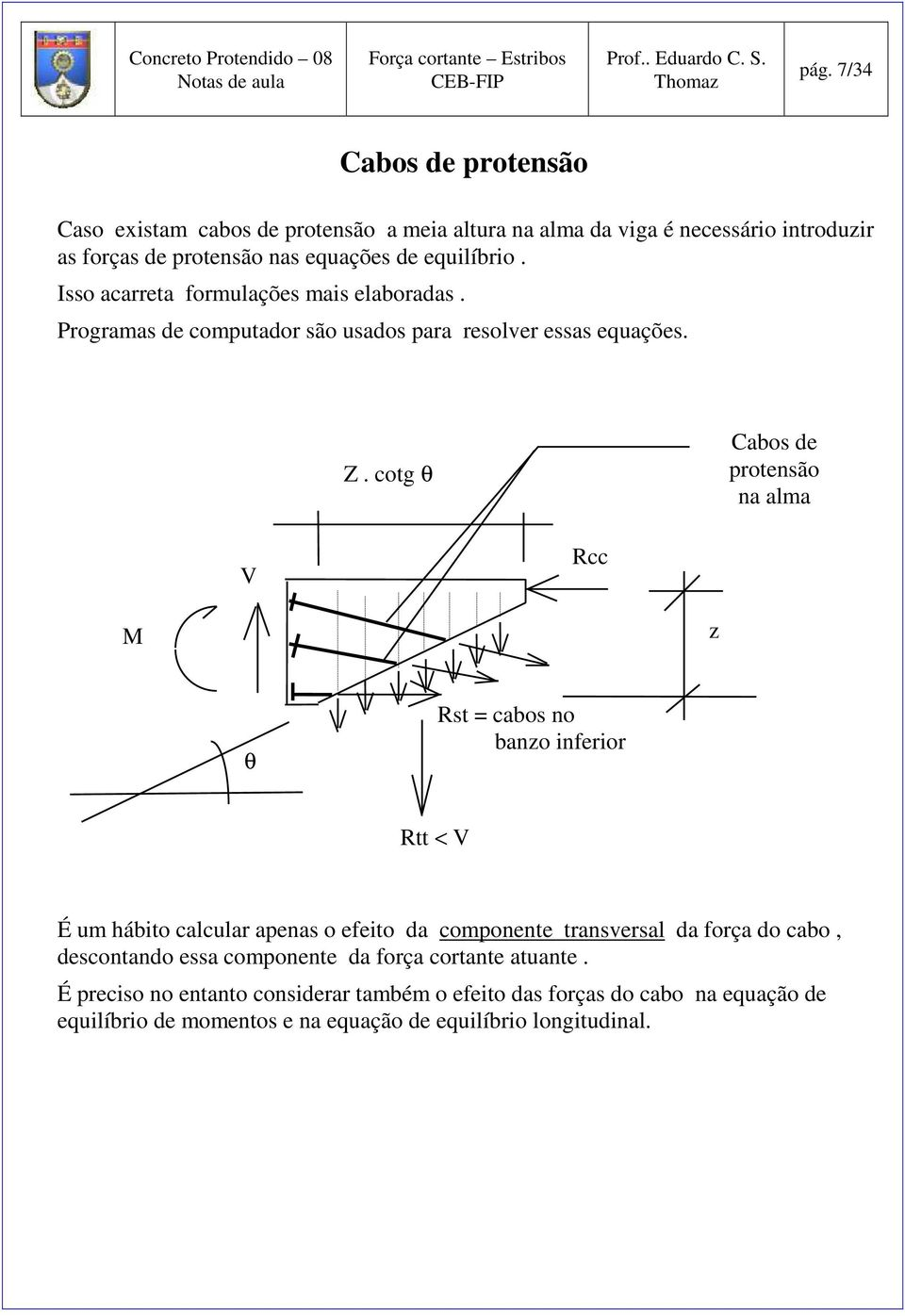 cotg θ Cabos de protensão na alma V Rcc M θ Rst = cabos no bano inferior Rtt < V É um hábito calcular apenas o efeito da componente transversal da força do