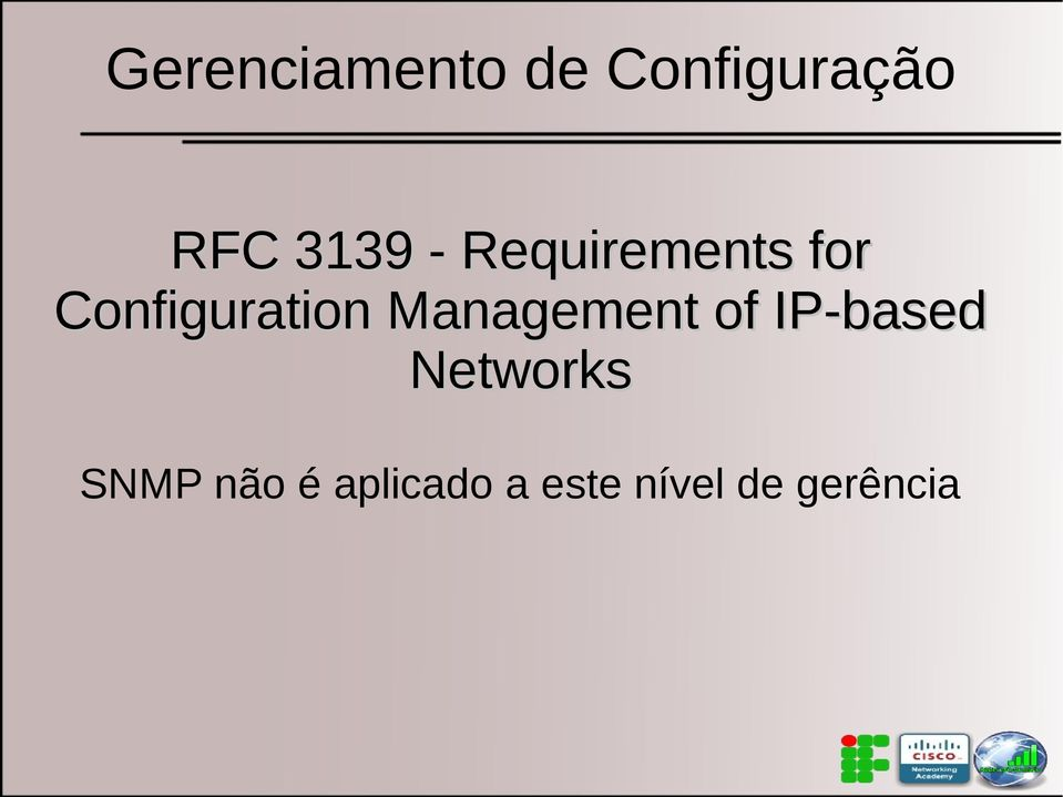 Configuration Management of IP-based