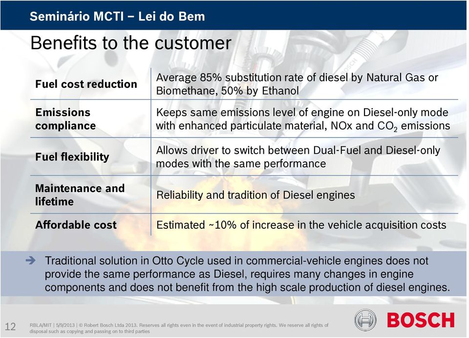 same performance Maintenance and lifetime Reliability and tradition of Diesel engines Affordable cost Estimated ~10% of increase in the vehicle acquisition costs Traditional solution in Otto
