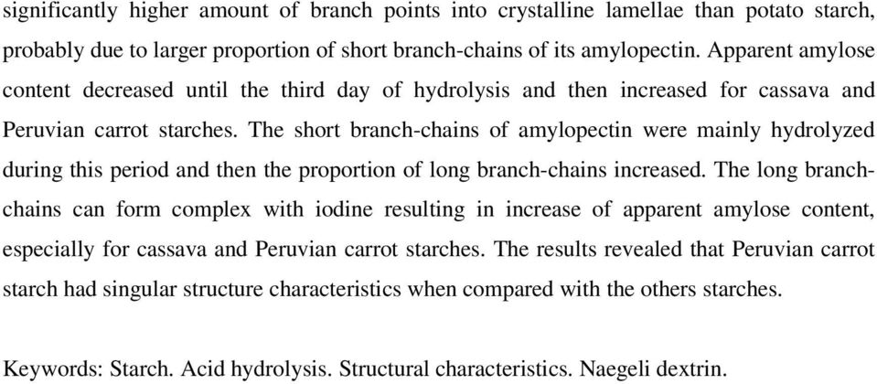 The short branch-chains of amylopectin were mainly hydrolyzed during this period and then the proportion of long branch-chains increased.