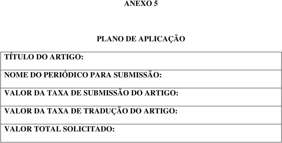 TAXA DE SUBMISSÃO DO ARTIGO: VALOR DA TAXA