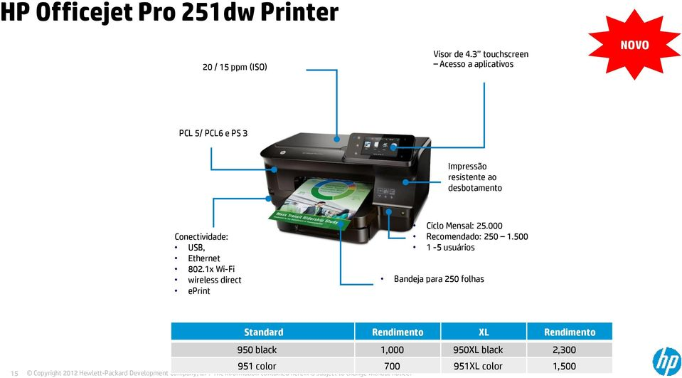 Conectividade: USB, Ethernet 802.1x Wi-Fi wireless direct eprint Ciclo Mensal: 25.