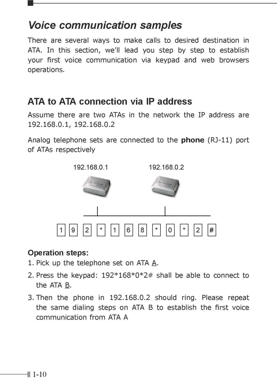 ATA to ATA connection via IP address Assume there are two ATAs in the network the IP address are 192.168.0.