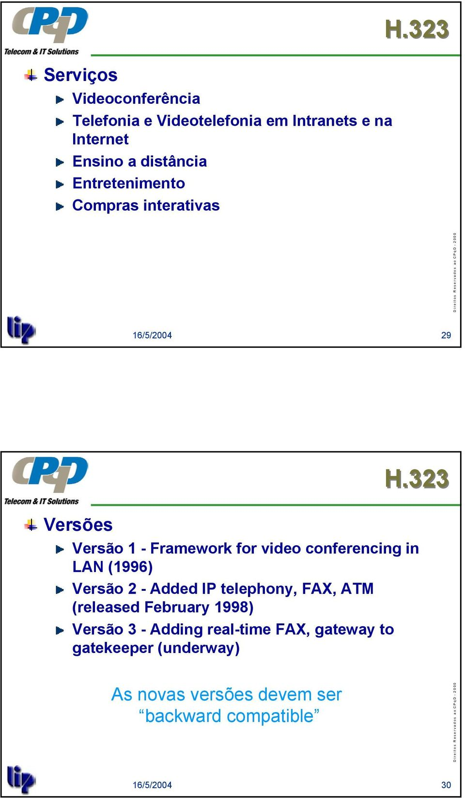 conferencing in LAN (1996) Versão 2 - Added IP telephony, FAX, ATM (released February 1998)