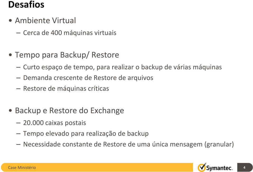 Restore de máquinas críticas Backup e Restore do Exchange 20.
