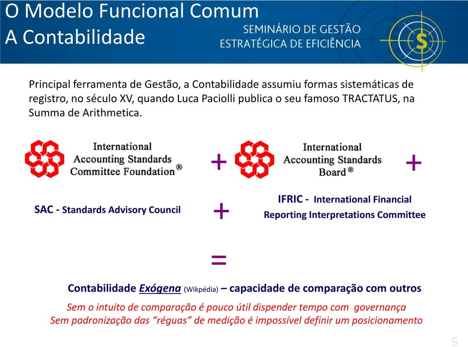 + + SAC - Standards Advisory Council + IFRIC - International Financial Reporting Interpretations Committee = Contabilidade Exógena