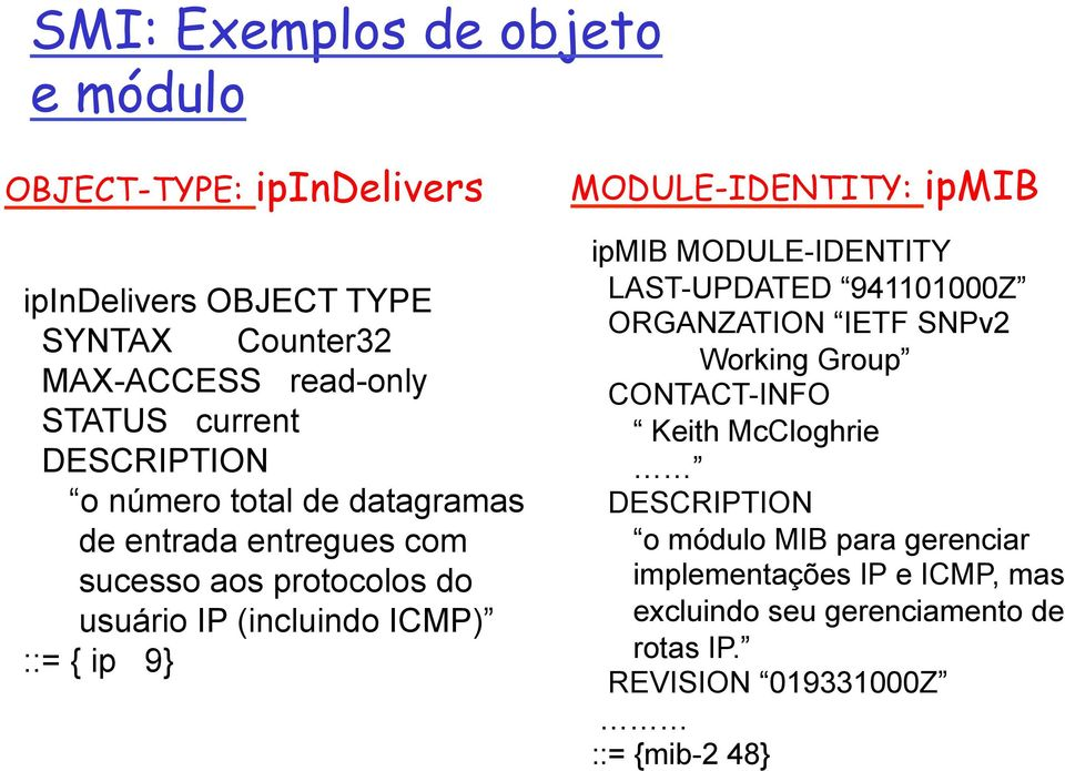 MODULE-IDENTITY: ipmib ipmib MODULE-IDENTITY LAST-UPDATED 941101000Z ORGANZATION IETF SNPv2 Working Group CONTACT-INFO Keith McCloghrie