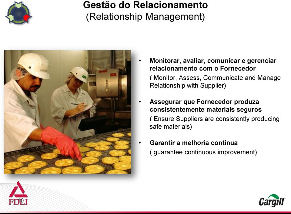 Supplier) Assegurar que Fornecedor produza consistentemente materiais seguros ( Ensure Suppliers