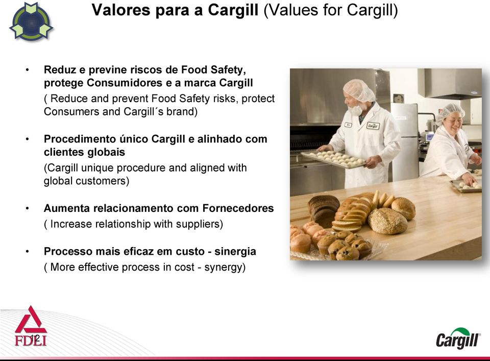 clientes globais (Cargill unique procedure and aligned with global customers) Aumenta relacionamento com Fornecedores (