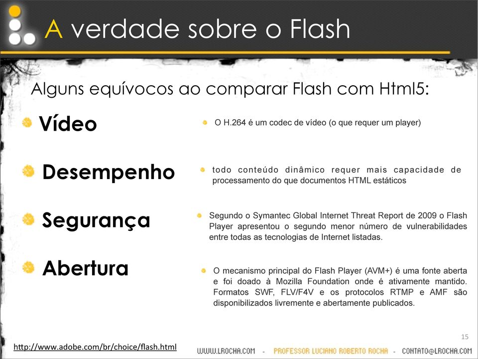 Segundo o Symantec Global Internet Threat Report de 2009 o Flash Player apresentou o segundo menor número de vulnerabilidades entre todas as tecnologias de Internet listadas.