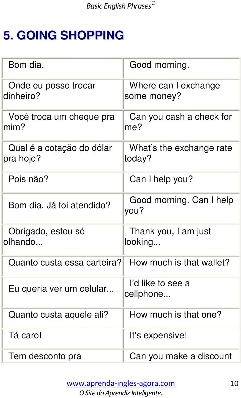 What s the exchange rate today? Can I help you? Good morning. Can I help you? Thank you, I am just looking... Quanto custa essa carteira?