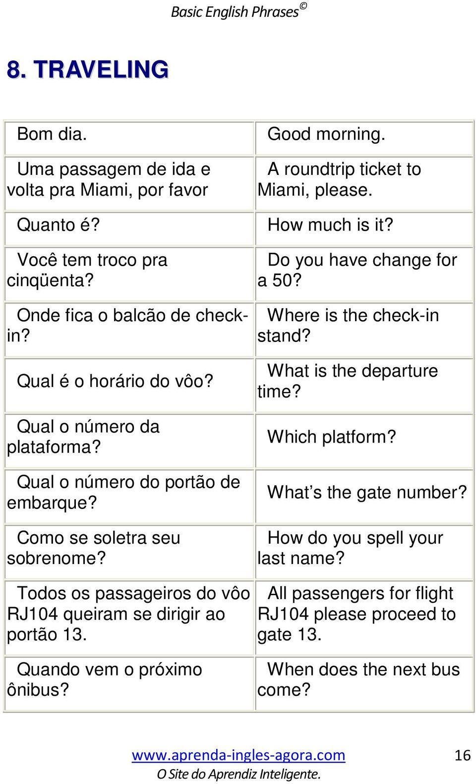 Qual o número da plataforma? Qual o número do portão de embarque? Como se soletra seu sobrenome? What is the departure time? Which platform? What s the gate number?