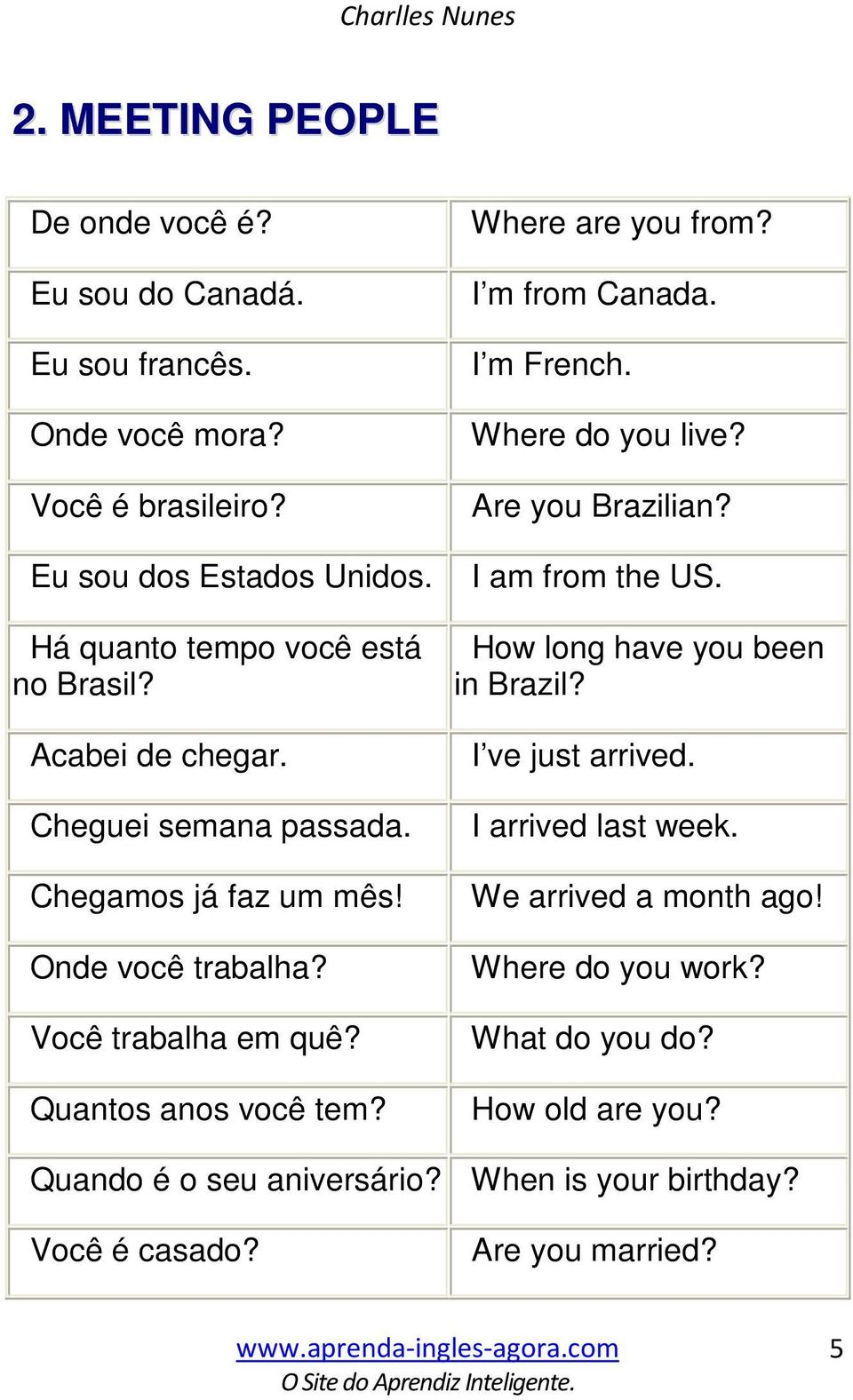 Quantos anos você tem? Where are you from? I m from Canada. I m French. Where do you live? Are you Brazilian? I am from the US. How long have you been in Brazil?