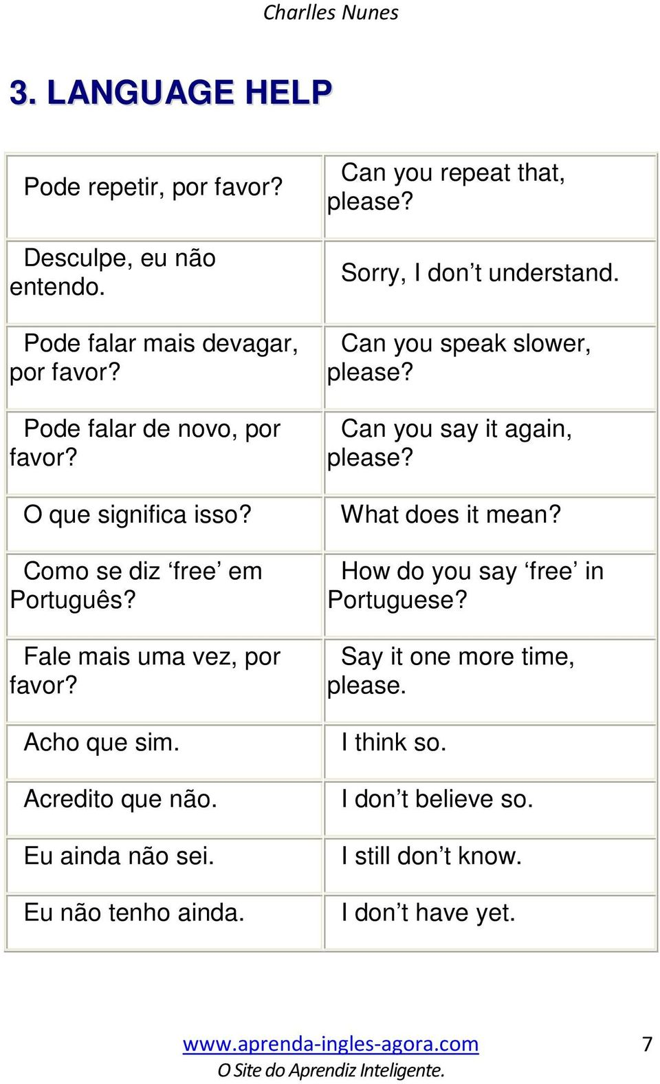 Acredito que não. Eu ainda não sei. Eu não tenho ainda. Can you repeat that, please? Sorry, I don t understand. Can you speak slower, please?