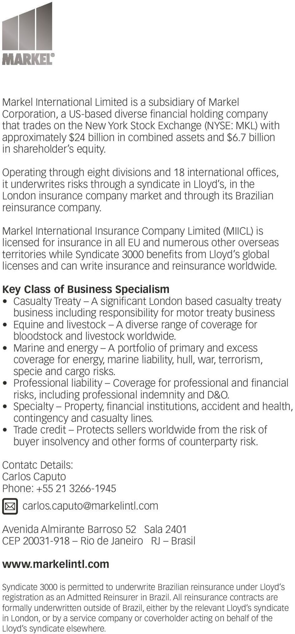 Operating through eight divisions and 18 international offices, it underwrites risks through a syndicate in Lloyd s, in the London insurance company market and through its Brazilian reinsurance