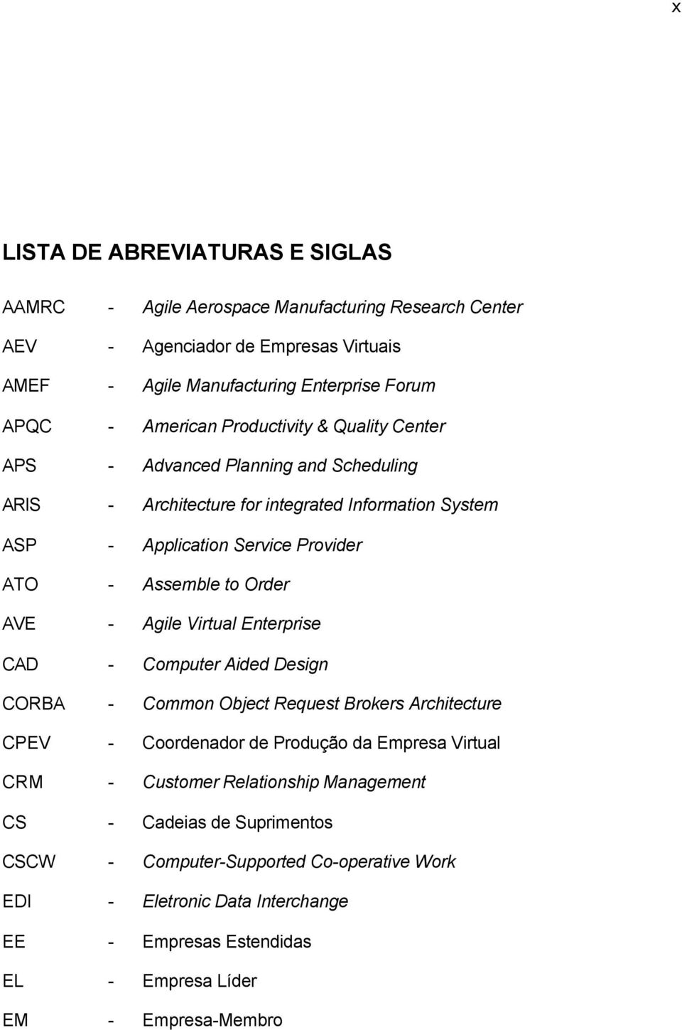 to Order AVE - Agile Virtual Enterprise CAD - Computer Aided Design CORBA - Common Object Request Brokers Architecture CPEV - Coordenador de Produção da Empresa Virtual CRM - Customer