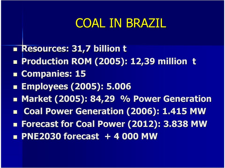 006 Market (2005): 84,29 % Power Generation Coal Power Generation
