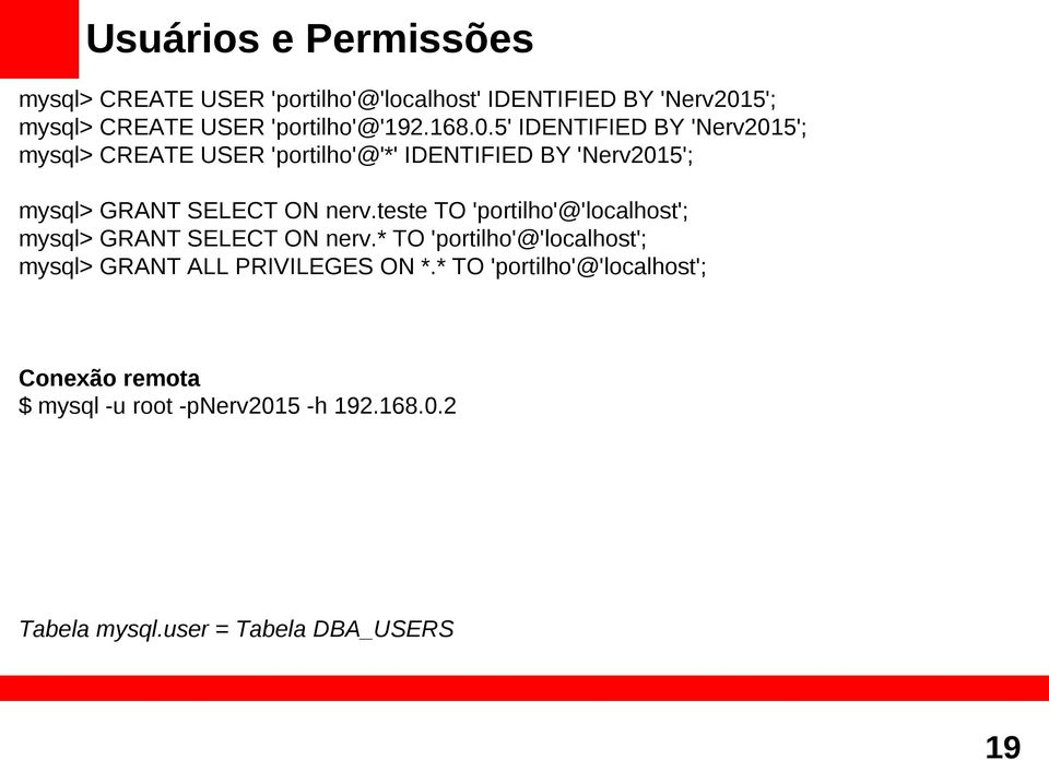 teste TO 'portilho'@'localhost'; mysql> GRANT SELECT ON nerv.* TO 'portilho'@'localhost'; mysql> GRANT ALL PRIVILEGES ON *.